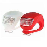 Велосипедний вело ліхтарик MHZ 2 маячка HJ 008-2, червоно-білий