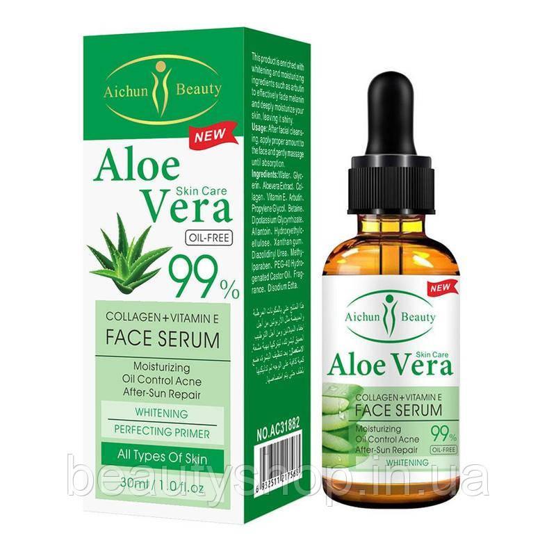 Зволожуюча сироватка Aloe Vera з колагеном і вітаміном Е Aichun Beauty (30 мл)