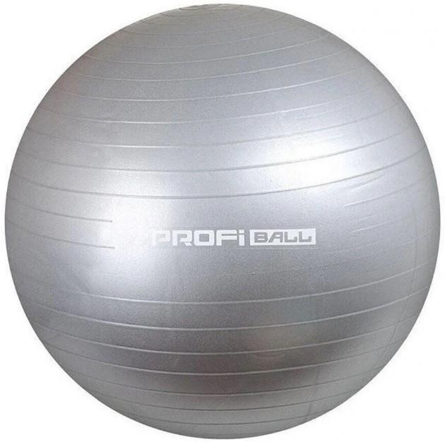 Фітбол 65 см, надувний м'яч для фітнесу Profiball MS 1540, сірий