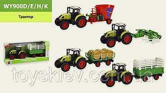 Трактор с прицепом батар. WY900D|E|H|K (18шт) 4 вида,свет,звук,в коробке 42*11,5*18,5 см, р-р игрушк