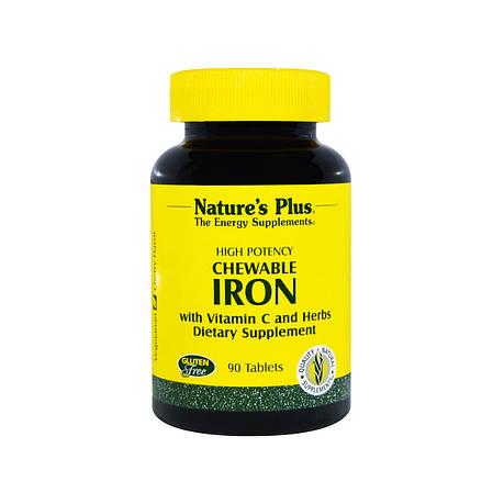 Железо с Витамином С, Chewable Iron, Natures Plus, 90 жевательных таблеток, фото 2