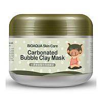 Бульбашкова глиняна маска Bioaqua (100 грам) для особи, очищення пір, позбавлення від вугрів, зволожує шкіру