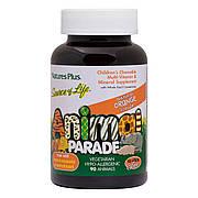 Детские Жевательные Мультивитамины, Вкус Апельсина, Source of Life, Animal Parade, Natures Plus, 90