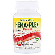Комплекс для Поддержки Оптимального Здоровья Крови, Hema-Plex, Natures Plus, Ягодное Ассорти, 60 жевательных