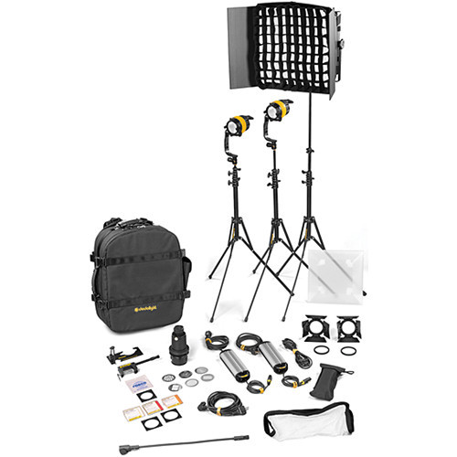 Dedolight DLED4.1/Felloni 2x1 Daylight 3-Light Standard Kit (Mains Operation) (BLED2X1-D-S)