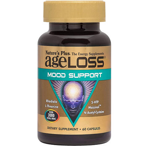 Комплекс для поддержки настроения, AgeLoss Mood Support, Nature's Plus, 60 капсул, фото 2