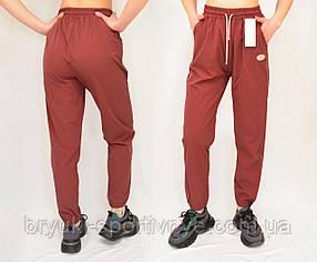 Брюки спортивные женские под манжет  Легкие летние брюки из плащевочного материала Бордовый, 2XL-3XL