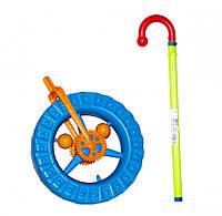 Детская каталка колесо на палке 1-014 с трещоткой (Синий)
