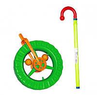 Детская каталка колесо на палке 1-014 с трещоткой (Зеленый)