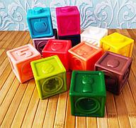 Набор сенсорных тактильных кубиков 12 шт | Кубики-конструкт для младенца | Развивающие силиконовые 3D кубики |