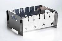 Мангал разборной двухуровневый на 6 шампуров- 2 мм нержавеющий сумка и перчатки в ПОДАРОК