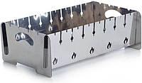 Мангал разборной двухуровневый - 2 мм x 8 шп. нержавеющий + подарок чехол, перчатки