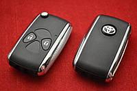 Toyota Rav4 corolla ключ выкидной 2 кнопки New Хром