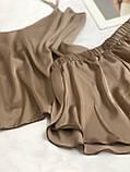 Домашняя шелковая пижама (капучино) р. 2XL - 3XL, фото 2