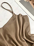 Домашняя шелковая пижама (капучино) р. 2XL - 3XL, фото 4