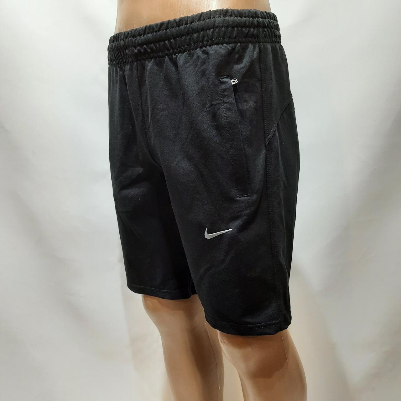 Чоловічі літні шорти трикотажні Nike з кишенями на резинці Туреччина Чорні