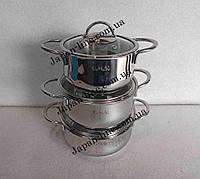 Набор кухонной посуды O.M.S. Collection 1032-S  ( 3 каст. 1,8 л. 2,3 л. 3 л.)