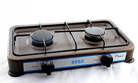 Газова плита/таганок Domotec MS-6662 (настільна, 2 конфорки)