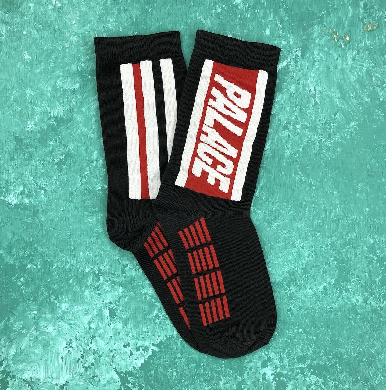 Шкарпетки Високі Жіночі Чоловічі Palace Чорні з червоною смугою 37-43