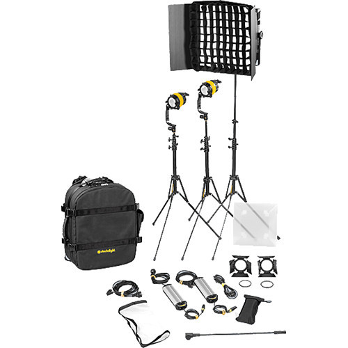 Dedolight DLED4.1/Felloni 2x1 Daylight 3-Light Basic Kit (Mains Operation) (BLED2X1-D-B)