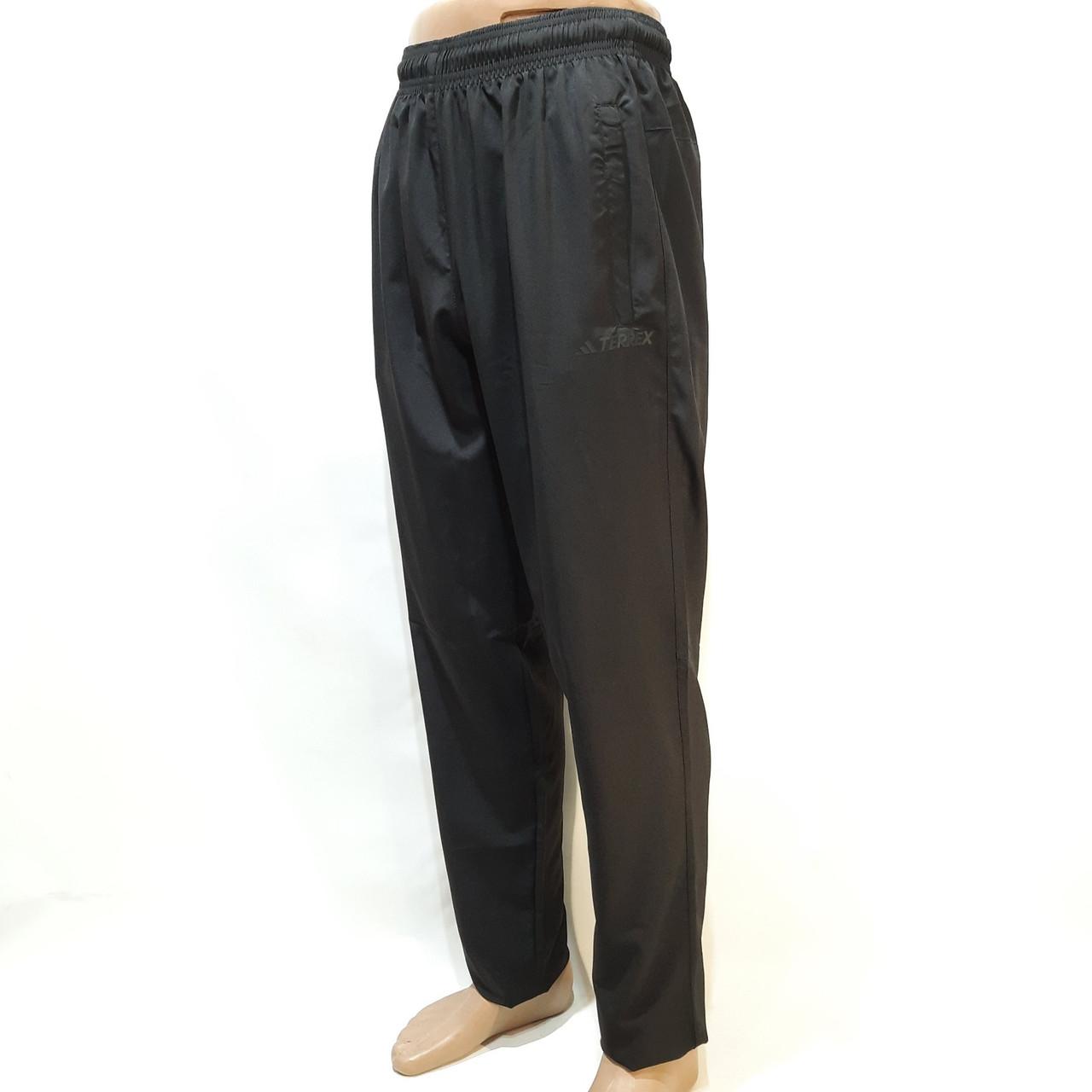 Літні спортивні чоловічі штани (Великі розміри) мікрофібра Adidas Terrex (репліка) прямі Чорні