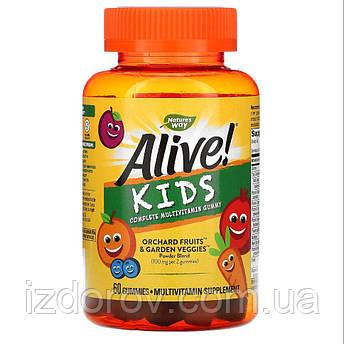 Nature's Way, Alive! Мультивітаміни для дітей, смаки - вишня, апельсин і виноград, 60 жувальних цукерок