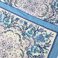 Хлопковая ткань для женского головного платка белая с голубым узором, ш. 78 см, фото 1