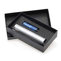 Фонарик LED металлический ручной серебристый, чёрный, синий в подарочной коробке