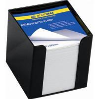 Подставка-куб для писем и бумаг BUROMAX 90x90x90 мм, black, with paper (BM.2290-01)