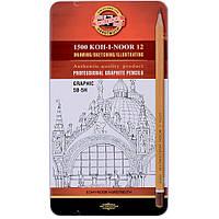 Карандаш графитный Koh-i-Noor 1502.III Graphic, 5В-5Н, 12 шт. (1502012009PL)