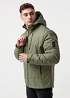 Мужская куртка парка весенняя, Мужская куртка с капюшоном спортивная, оливковая
