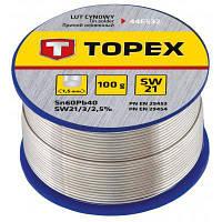 Припій для пайки Topex олов'яний 60%Sn, дріт 1.5 мм,100 г (44E532)