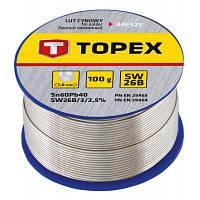 Припій для пайки Topex олов'яний 60%Sn, дріт 1.0 мм,100 г (44E522)