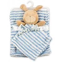 Детское одеяло Luvena Fortuna флисовое с игрушкой-салфеткой, голубое (G8758)
