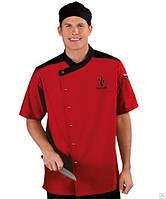 Куртка поварская красная с черной отделкой