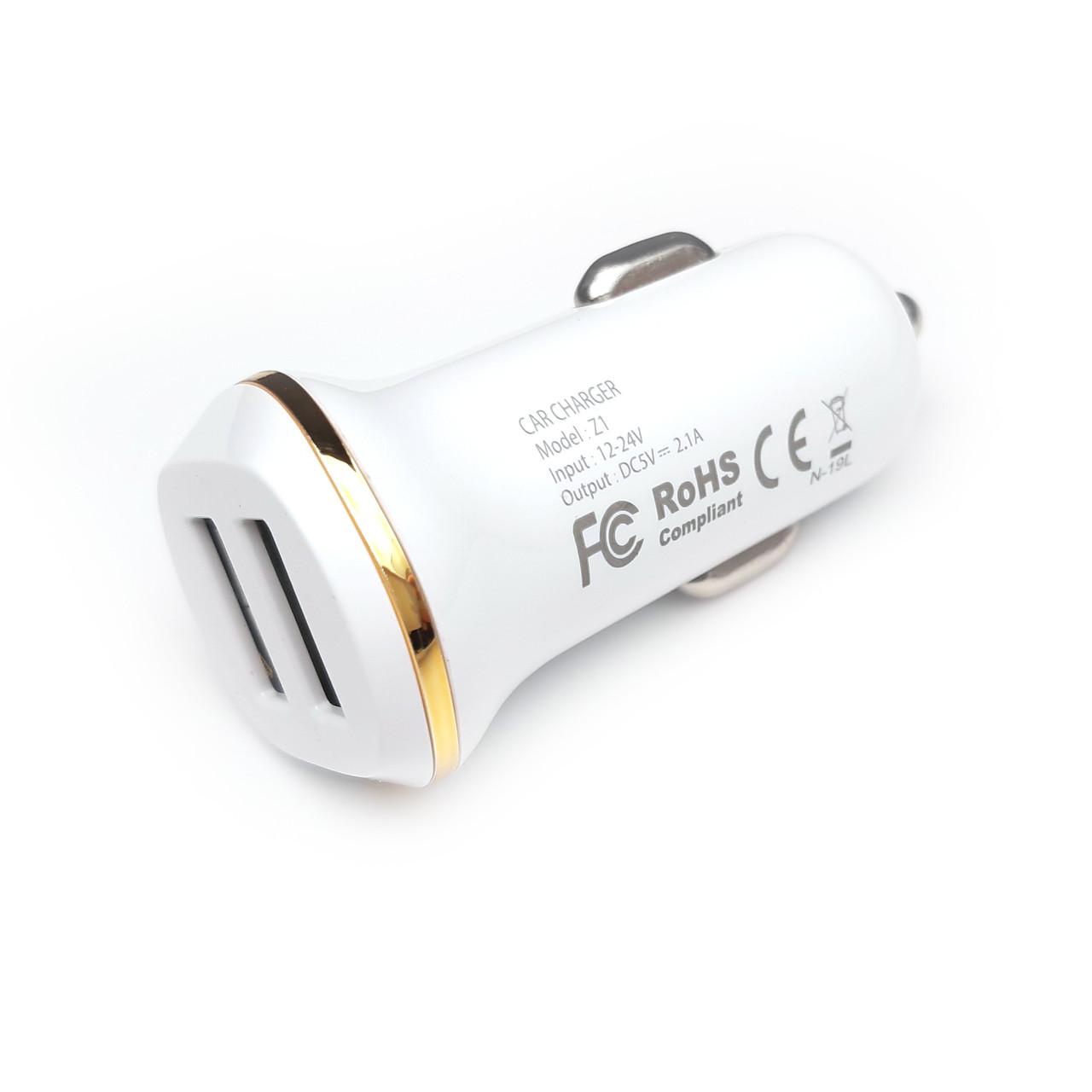 Автомобильное зарядное устройство USB 2.1A (2USB)
