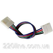 Коннектор для светодиодных лент OEМ SС-09-SWS-10-4 10mm RGB 2joints wire (провод-2 зажима)