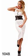 Женское платье с кожаными вставками (р. S,M,L) арт. 1048