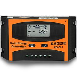 Контроллер заряда солнечной панели Raggie RG-501, 12V/24V 10A. Оригинальный Solar charge controller
