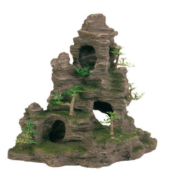 Грот Скелі з печерою з рослинами, 31,5 см, пластик