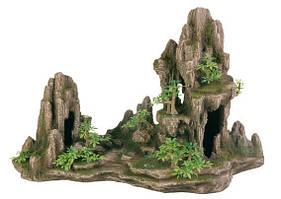 Грот Скалы с пещерой с растениями , 45 см, пластик