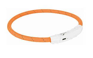 Светящийся ошейник для собак USB, L–XL: 65 см/ø 7 мм, нейлон, оранжевый, USB