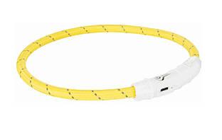 Светящийся ошейник для собак и кошек USB, XS–S: 35 см/ø 7 мм, нейлон, желтый, USB