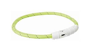 Светящийся ошейник для собак и кошек USB, XS–S: 35 см/ 7 мм, нейлон, зеленый, USB