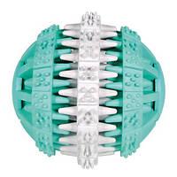 Игрушка для собак мяч DentaFan 7.5 см, резина, белый/зеленый