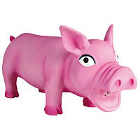 Игрушка для собак Свинка 17 см, хрюкающая, латекс