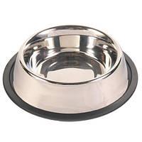 Миска для собак металева з гумкою ø14 см / 0,45 л