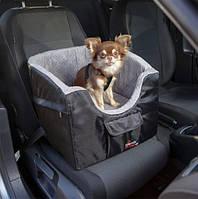М'яке місце в авто для собак до 8 кг, 41х39х42 см, сірий / чорний