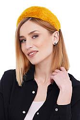 Стильний жовтий обруч обідок з еко хутра для волосся my scarf