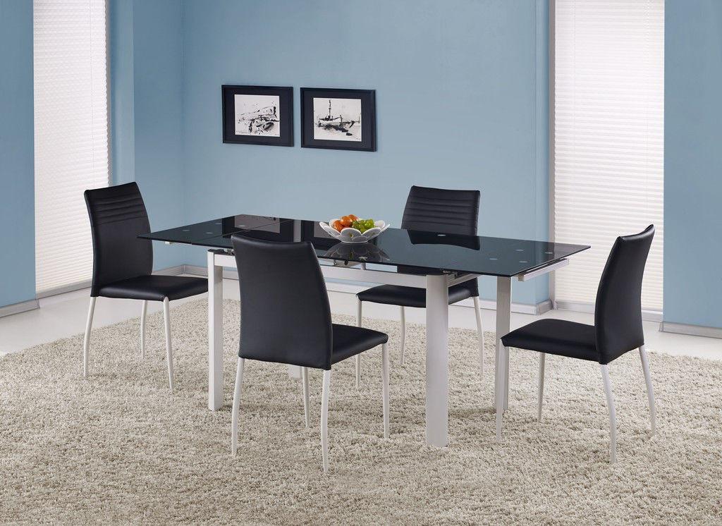 Стол стеклянный раскладной Alston черный (Halmar ТМ)